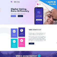 Dating App MotoCMS 3 Landing Page Template