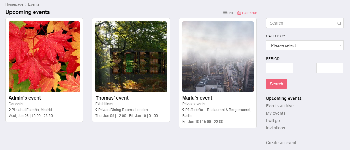 Events - Join events, invite people to join