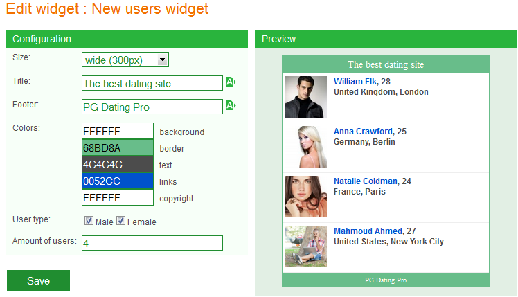 New users widget