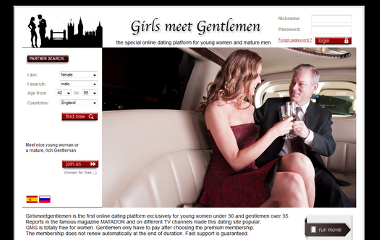 Dating site exclusively for young women under 30 and gentlemen over 35