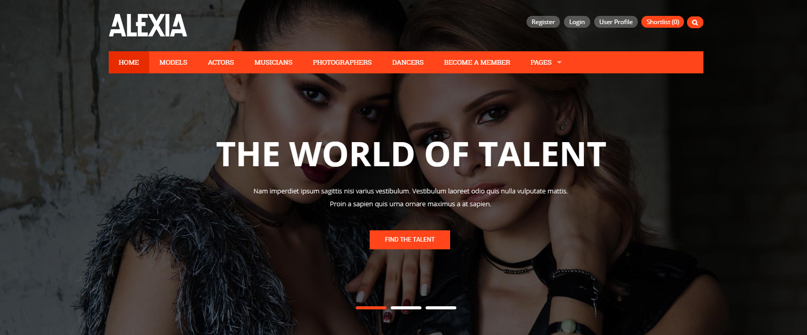 Alexia - Model Agency WordPress Theme