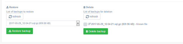 Backup - Manage your database from control panel